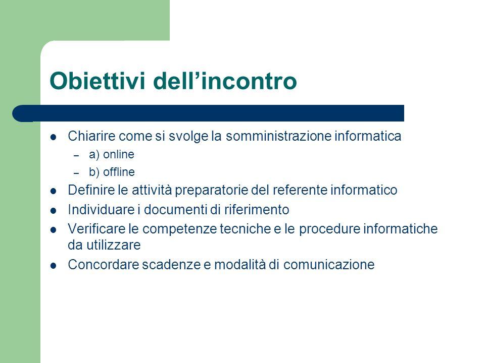 Obiettivi dellincontro Chiarire come si svolge la somministrazione informatica – a) online – b) offline Definire le attività preparatorie del referente informatico Individuare i documenti di riferimento Verificare le competenze tecniche e le procedure informatiche da utilizzare Concordare scadenze e modalità di comunicazione