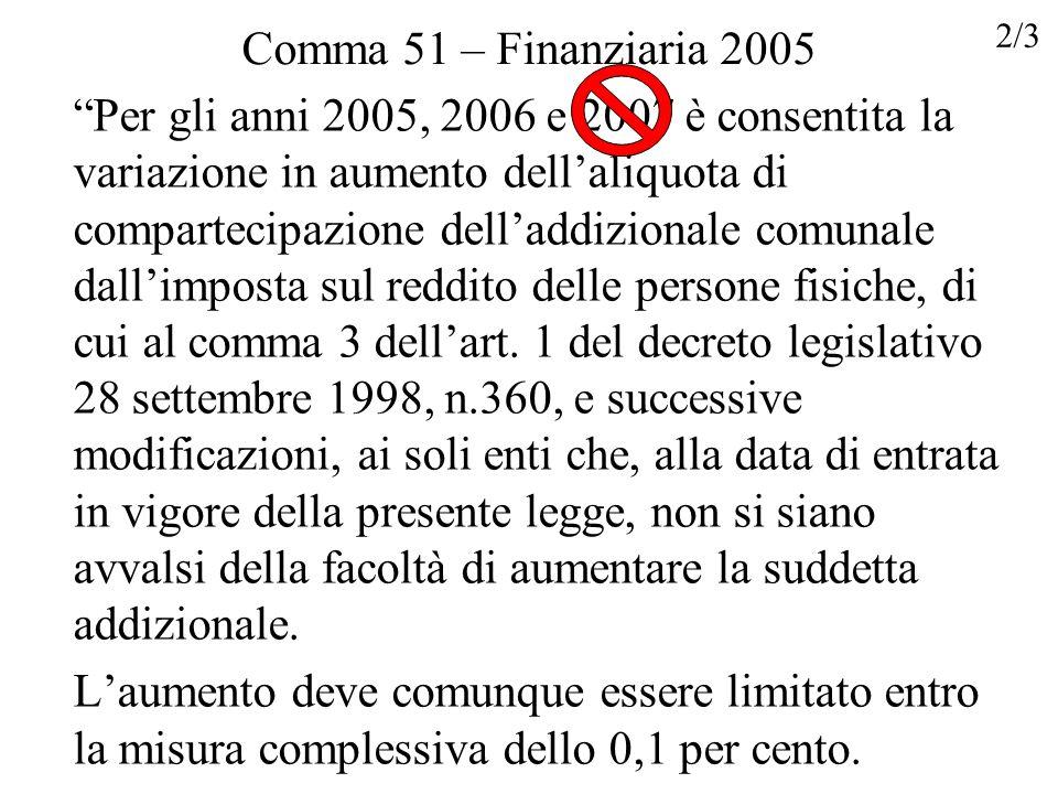Comma 51 – Finanziaria 2005 Per gli anni 2005, 2006 e 2007 è consentita la variazione in aumento dellaliquota di compartecipazione delladdizionale com