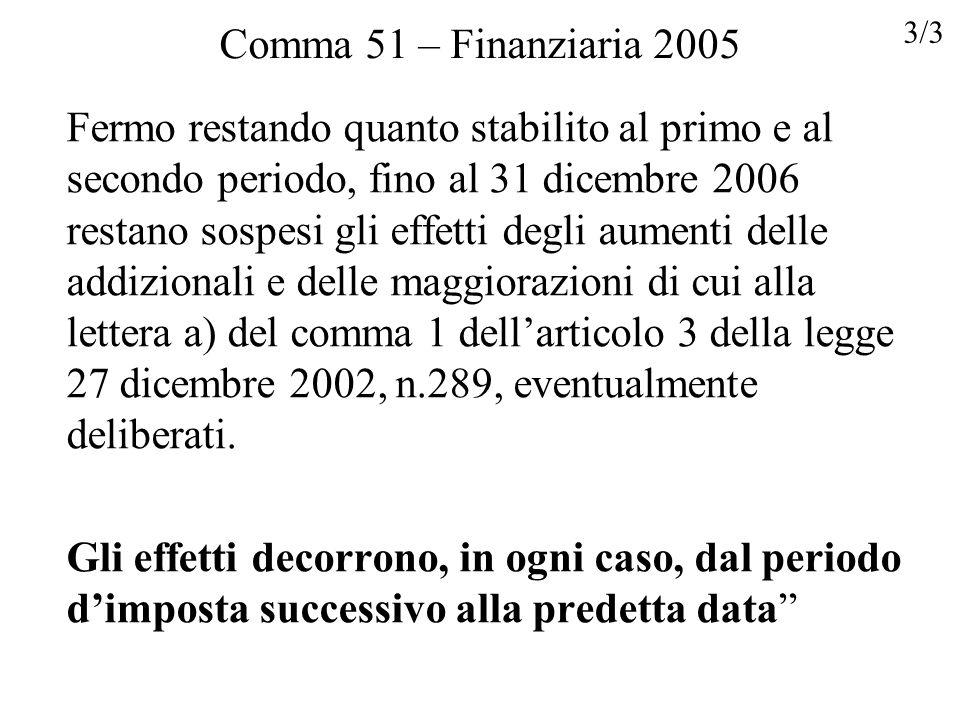 Comma 51 – Finanziaria 2005 Fermo restando quanto stabilito al primo e al secondo periodo, fino al 31 dicembre 2006 restano sospesi gli effetti degli