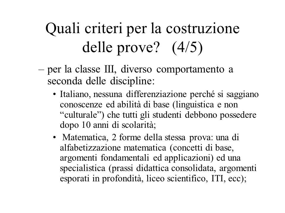 Quali criteri per la costruzione delle prove? (4/5) –per la classe III, diverso comportamento a seconda delle discipline: Italiano, nessuna differenzi