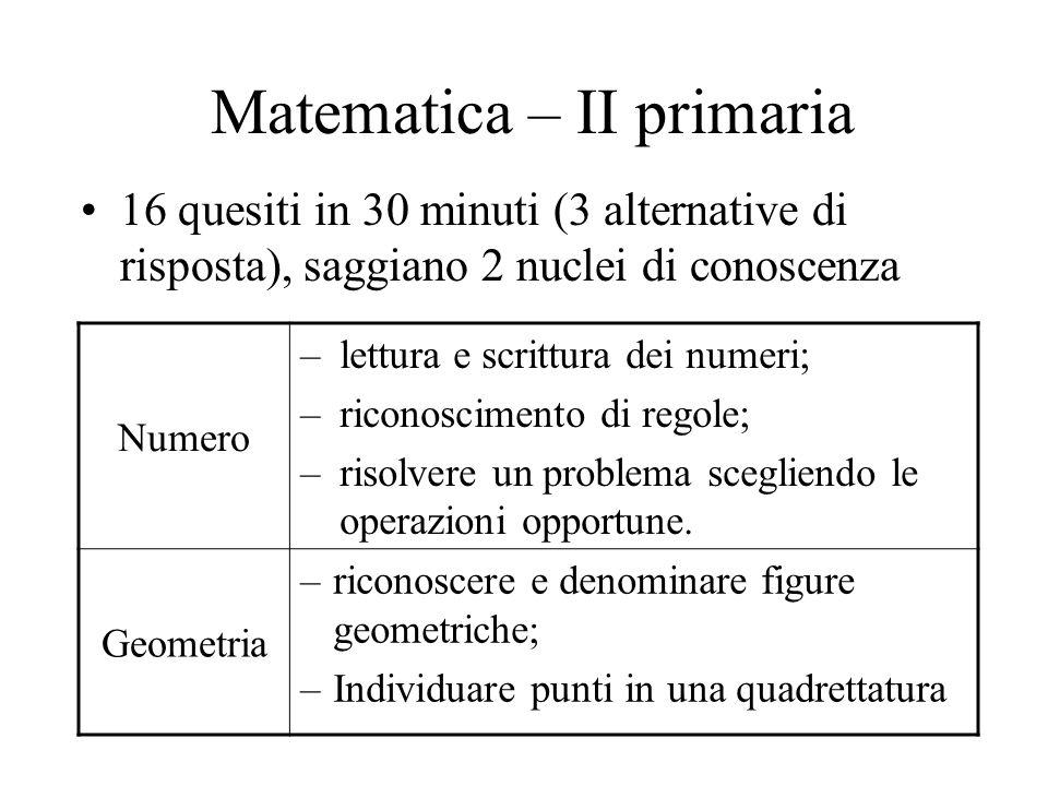 Matematica – II primaria 16 quesiti in 30 minuti (3 alternative di risposta), saggiano 2 nuclei di conoscenza Numero –lettura e scrittura dei numeri;