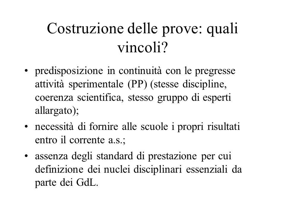 Costruzione delle prove: quali vincoli? predisposizione in continuità con le pregresse attività sperimentale (PP) (stesse discipline, coerenza scienti