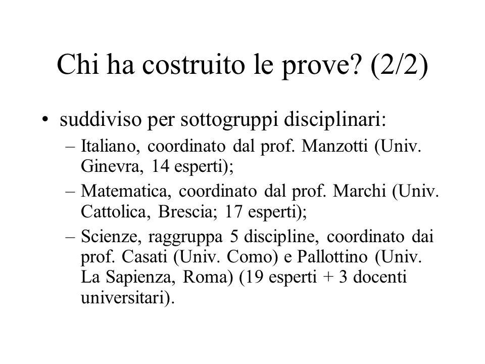 Chi ha costruito le prove? (2/2) suddiviso per sottogruppi disciplinari: –Italiano, coordinato dal prof. Manzotti (Univ. Ginevra, 14 esperti); –Matema