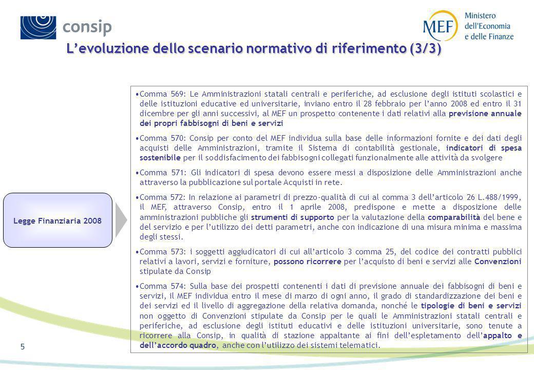 4 Levoluzione dello scenario normativo di riferimento (2/3) Legge Finanziaria 2004 L. 350/03 La L. 350/03 abroga il riferimento ai servizi caratterizz