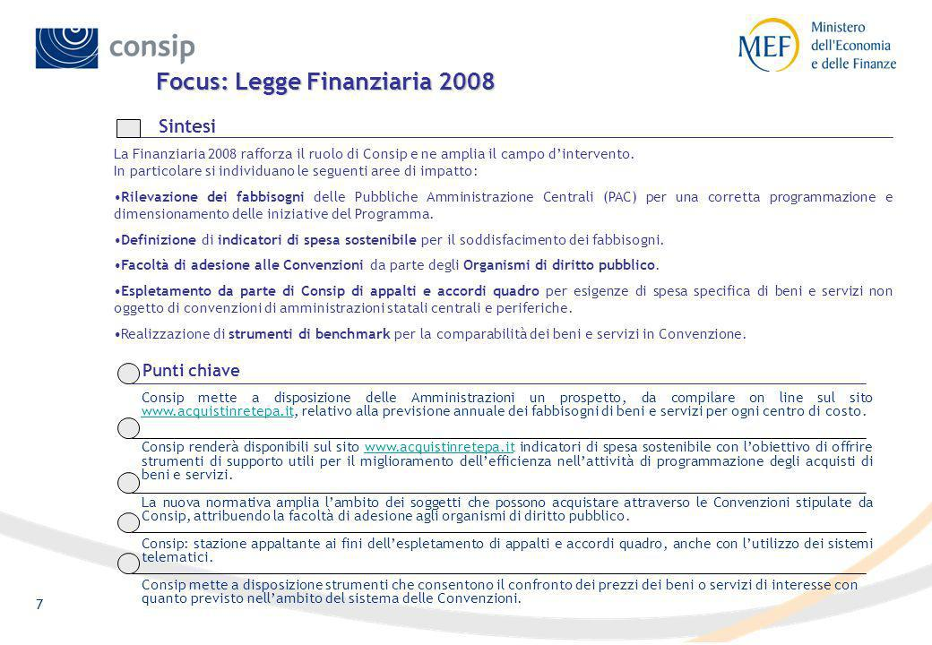 7 Focus: Legge Finanziaria 2008 La Finanziaria 2008 rafforza il ruolo di Consip e ne amplia il campo dintervento.