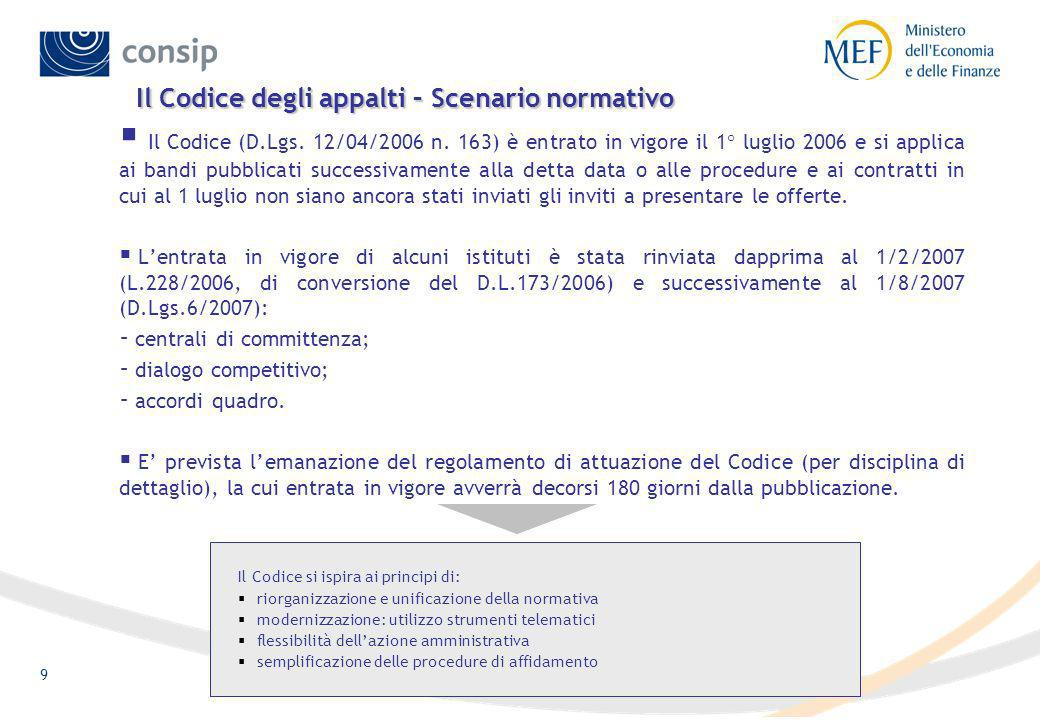9 Il Codice degli appalti – Scenario normativo Il Codice (D.Lgs.