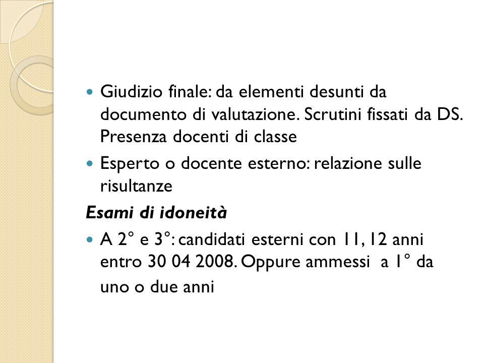 Giudizio finale: da elementi desunti da documento di valutazione.