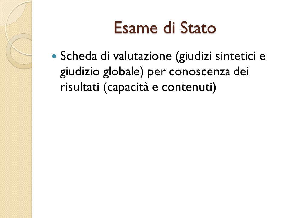 Esame di Stato Scheda di valutazione (giudizi sintetici e giudizio globale) per conoscenza dei risultati (capacità e contenuti)