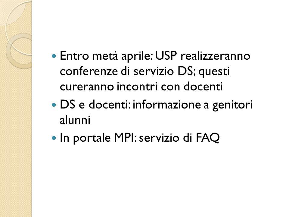 Entro metà aprile: USP realizzeranno conferenze di servizio DS; questi cureranno incontri con docenti DS e docenti: informazione a genitori alunni In portale MPI: servizio di FAQ
