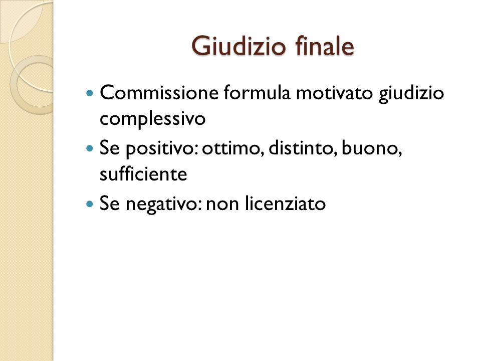 Giudizio finale Commissione formula motivato giudizio complessivo Se positivo: ottimo, distinto, buono, sufficiente Se negativo: non licenziato