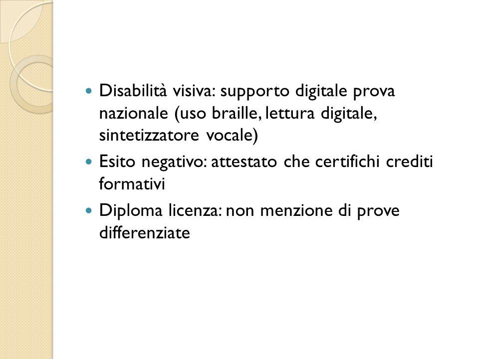 Disabilità visiva: supporto digitale prova nazionale (uso braille, lettura digitale, sintetizzatore vocale) Esito negativo: attestato che certifichi crediti formativi Diploma licenza: non menzione di prove differenziate