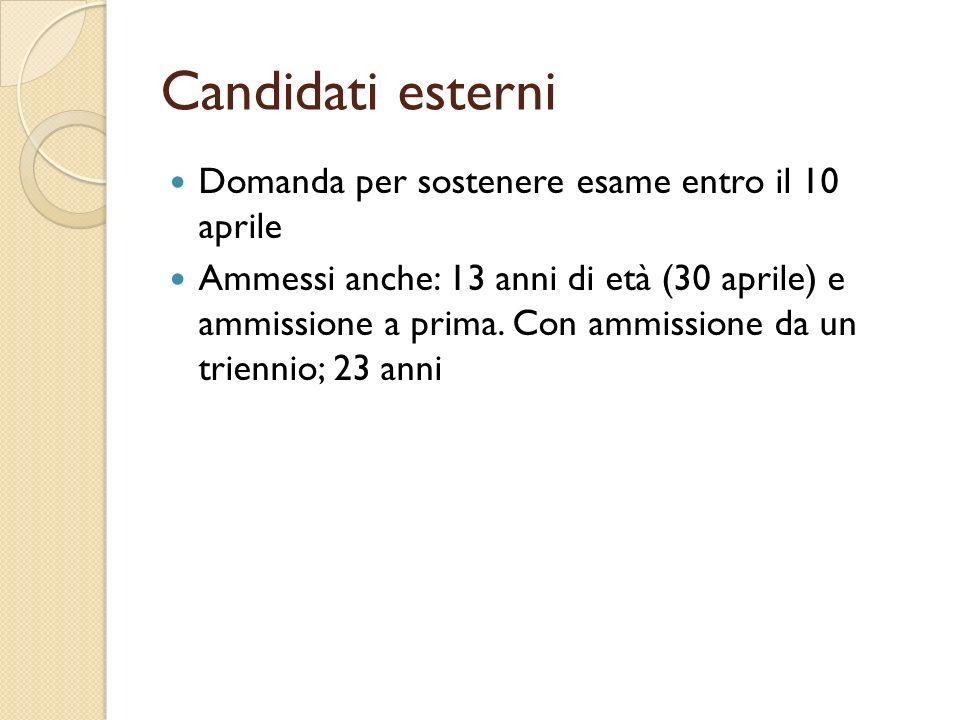 Candidati esterni Domanda per sostenere esame entro il 10 aprile Ammessi anche: 13 anni di età (30 aprile) e ammissione a prima.