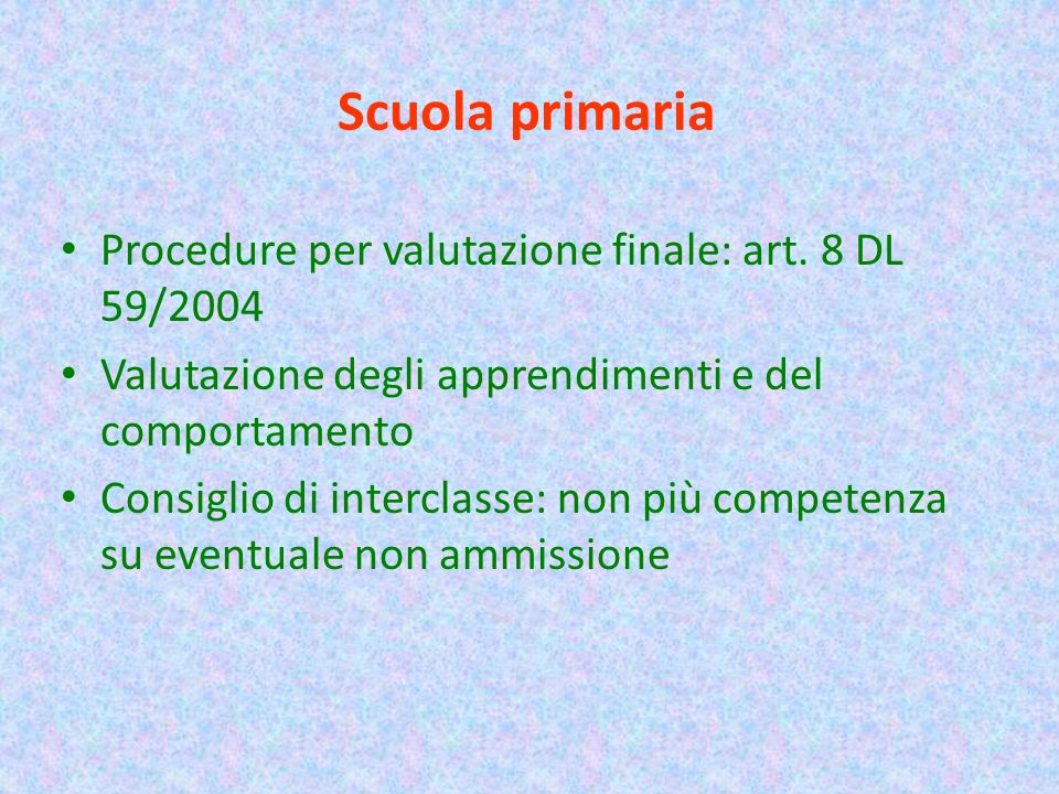 Scuola primaria Procedure per valutazione finale: art.