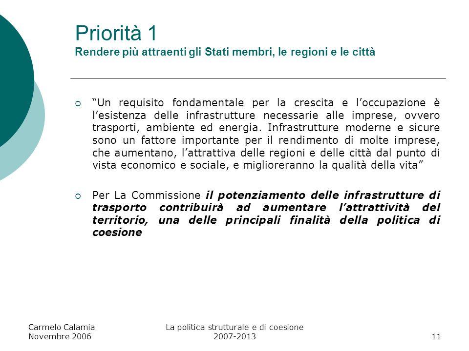 Carmelo Calamia Novembre 2006 La politica strutturale e di coesione 2007-201312 Priorità 1 - Rendere lEuropa più attraente per gli investimenti Per gli stati membri e le regioni per migliorare laccessibilità: 1.