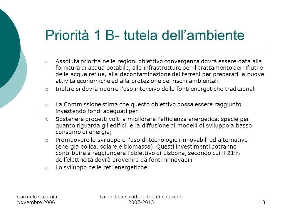 Carmelo Calamia Novembre 2006 La politica strutturale e di coesione 2007-201314 Priorità: Promuovere la conoscenza e linnovazione a favore della crescita Migliorare ed aumentare gli investimenti nella RST (es.