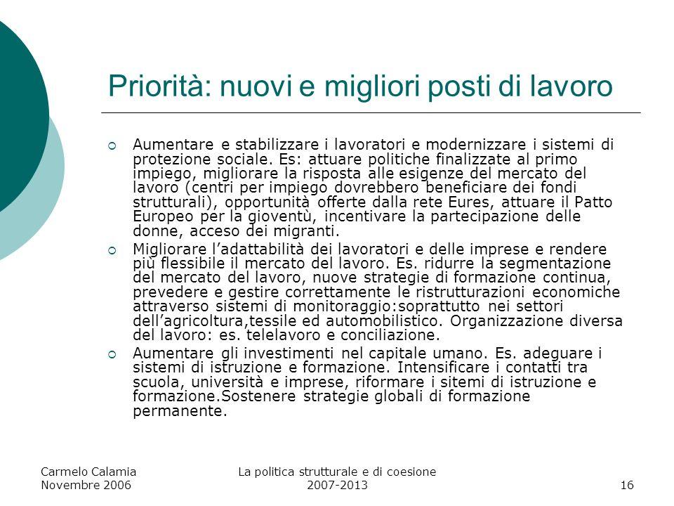 Carmelo Calamia Novembre 2006 La politica strutturale e di coesione 2007-201317 Capacità amministrativa La capacità amministrativa delle amministrazioni locali e dei servizi pubblici è fondamentale per promuovere la crescita e loccupazione.