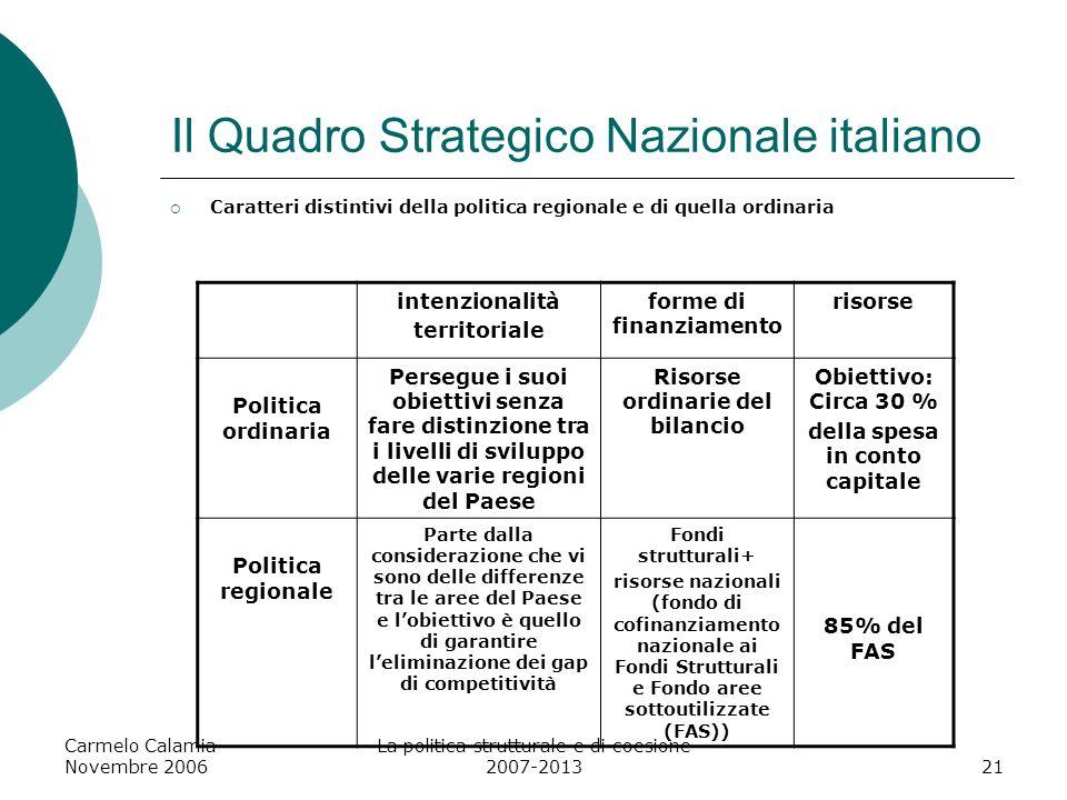 Carmelo Calamia Novembre 2006 La politica strutturale e di coesione 2007-201322 Contenuti del P.O.