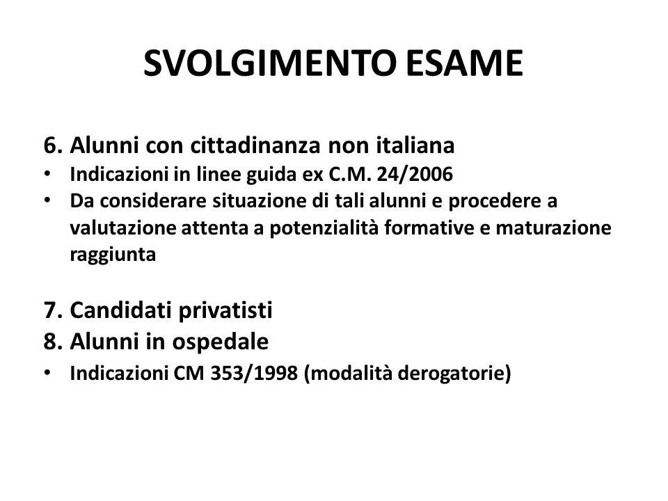 SVOLGIMENTO ESAME 6.Alunni con cittadinanza non italiana Indicazioni in linee guida ex C.M. 24/2006 Da considerare situazione di tali alunni e procede