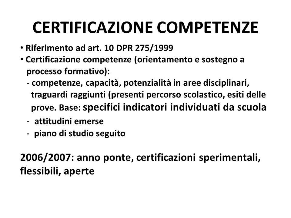 CERTIFICAZIONE COMPETENZE Riferimento ad art. 10 DPR 275/1999 Certificazione competenze (orientamento e sostegno a processo formativo): - competenze,