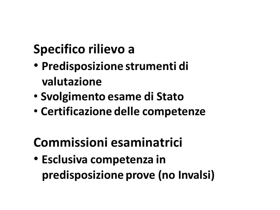 Specifico rilievo a Predisposizione strumenti di valutazione Svolgimento esame di Stato Certificazione delle competenze Commissioni esaminatrici Esclusiva competenza in predisposizione prove (no Invalsi)
