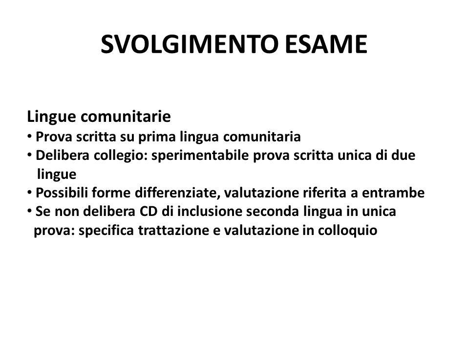 SVOLGIMENTO ESAME Lingue comunitarie Prova scritta su prima lingua comunitaria Delibera collegio: sperimentabile prova scritta unica di due lingue Pos