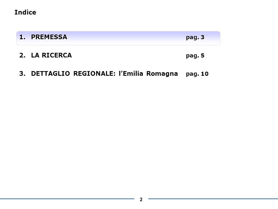 2 Indice 1.PREMESSA pag. 3 2.LA RICERCA pag. 5 3.DETTAGLIO REGIONALE: lEmilia Romagna pag.