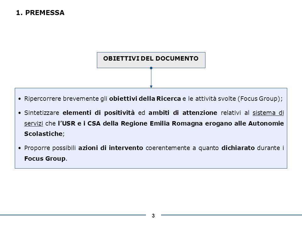 3 1. PREMESSA OBIETTIVI DEL DOCUMENTO Ripercorrere brevemente gli obiettivi della Ricerca e le attività svolte (Focus Group); Sintetizzare elementi di