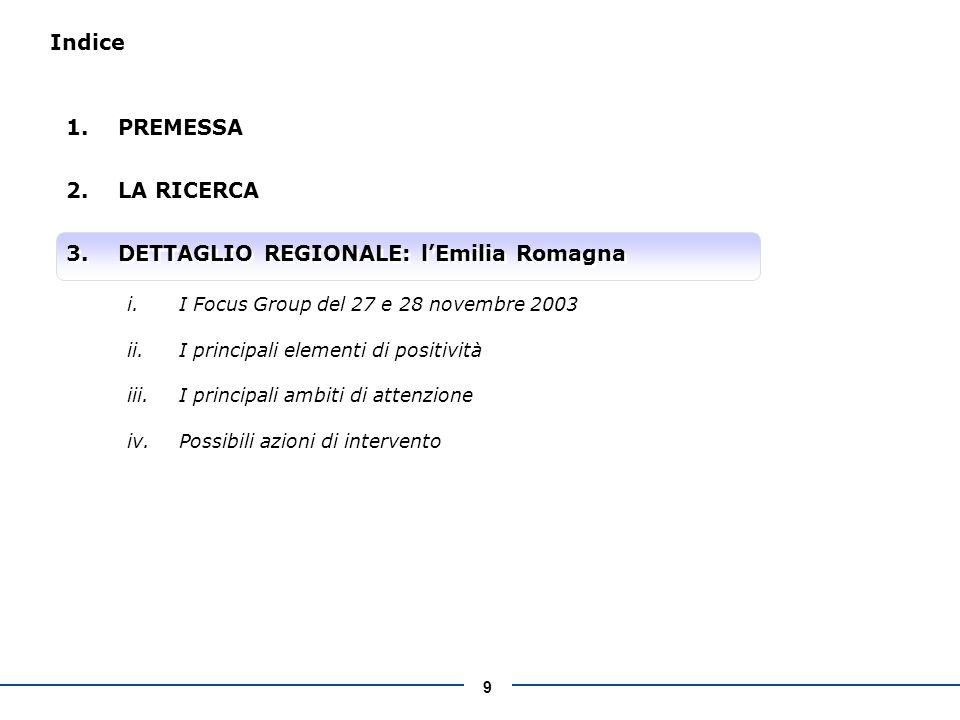 9 Indice 1.PREMESSA 2.LA RICERCA 3.DETTAGLIO REGIONALE: lEmilia Romagna i.I Focus Group del 27 e 28 novembre 2003 ii.I principali elementi di positività iii.I principali ambiti di attenzione iv.Possibili azioni di intervento 1.PREMESSA 2.LA RICERCA 3.DETTAGLIO REGIONALE: lEmilia Romagna i.I Focus Group del 27 e 28 novembre 2003 ii.I principali elementi di positività iii.I principali ambiti di attenzione iv.Possibili azioni di intervento