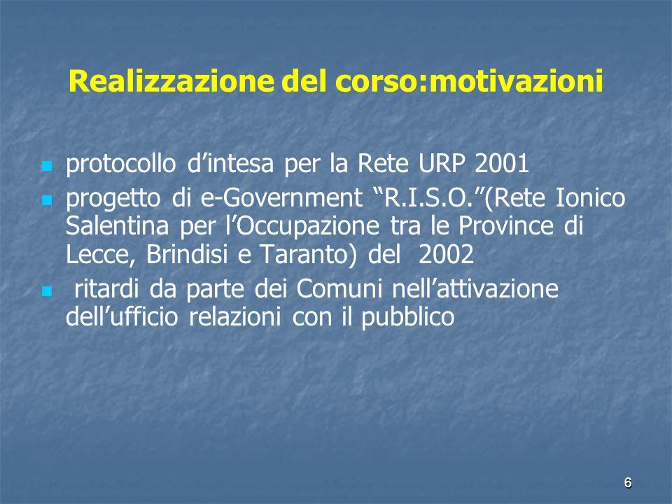 6 Realizzazione del corso:motivazioni protocollo dintesa per la Rete URP 2001 progetto di e-Government R.I.S.O.(Rete Ionico Salentina per lOccupazione tra le Province di Lecce, Brindisi e Taranto) del 2002 ritardi da parte dei Comuni nellattivazione dellufficio relazioni con il pubblico