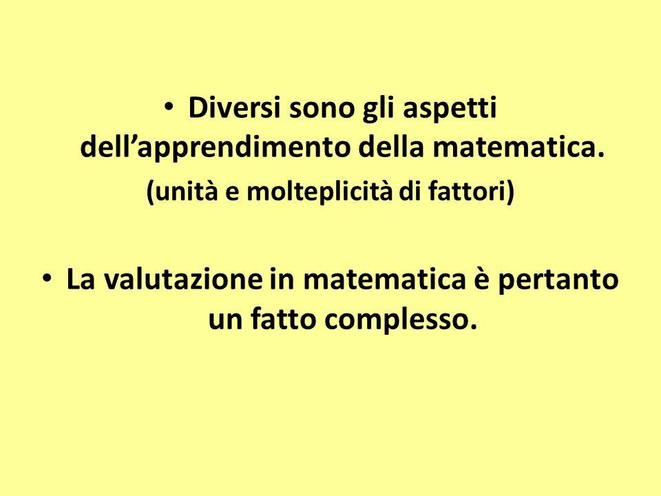 Diversi sono gli aspetti dellapprendimento della matematica. (unità e molteplicità di fattori) La valutazione in matematica è pertanto un fatto comple