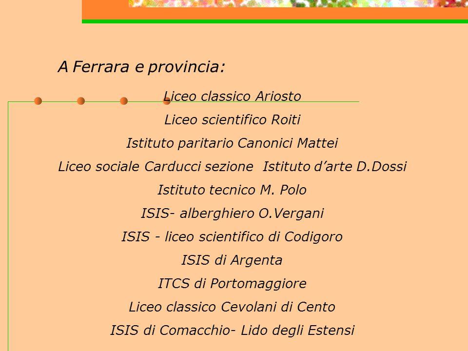 A Ferrara e provincia: Liceo classico Ariosto Liceo scientifico Roiti Istituto paritario Canonici Mattei Liceo sociale Carducci sezione Istituto darte D.Dossi Istituto tecnico M.