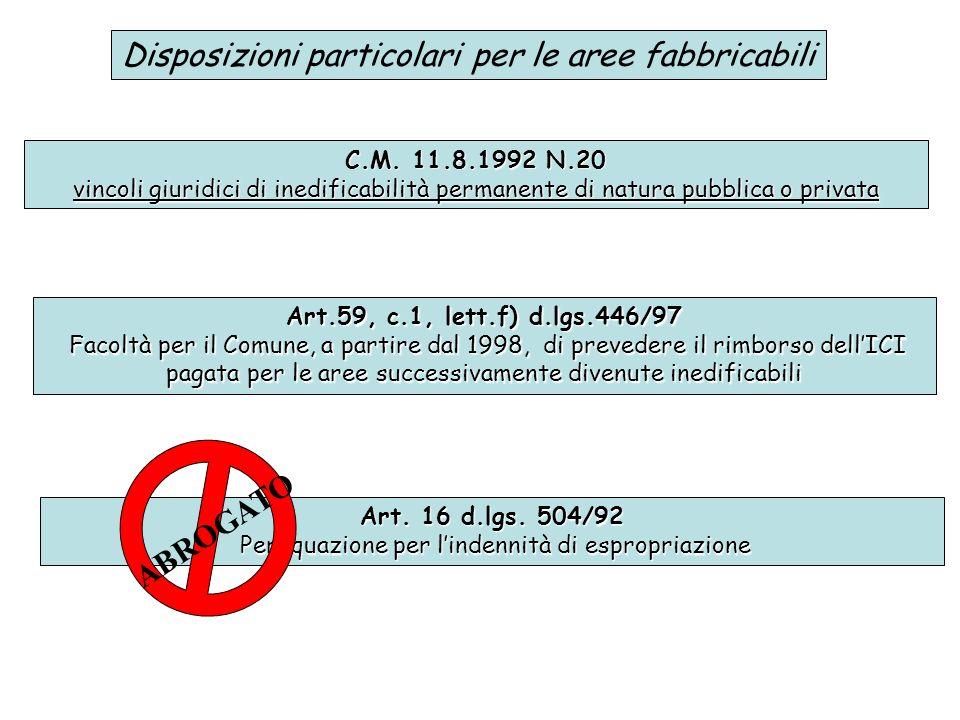 Disposizioni particolari per le aree fabbricabili C.M. 11.8.1992 N.20 vincoli giuridici di inedificabilità permanente di natura pubblica o privata Art