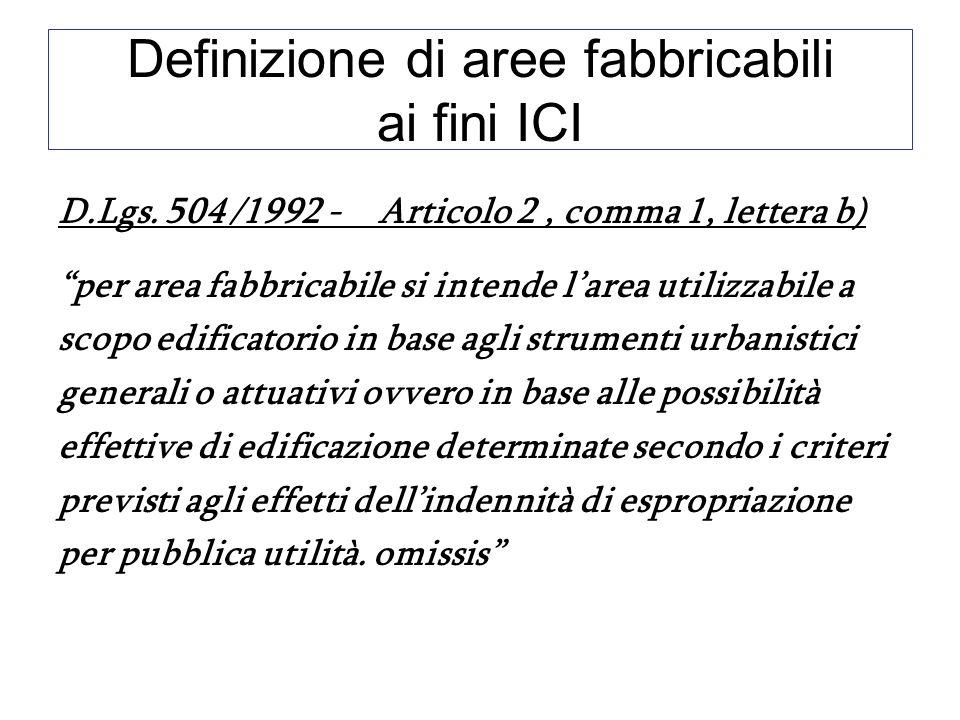 Definizione di aree fabbricabili ai fini ICI D.Lgs. 504 /1992 - Articolo 2, comma 1, lettera b) per area fabbricabile si intende larea utilizzabile a