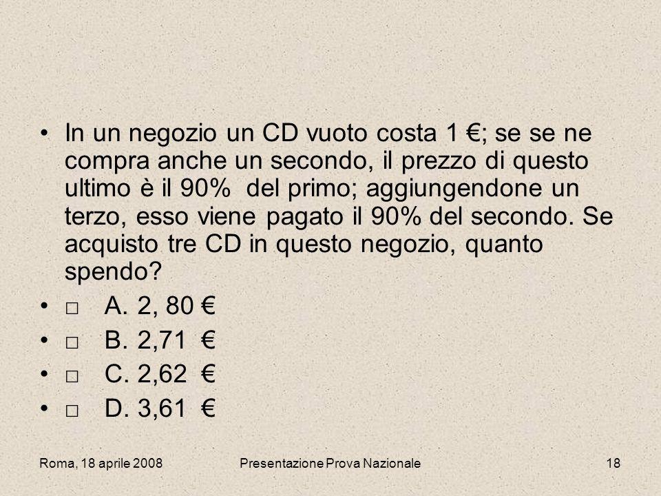 Roma, 18 aprile 2008Presentazione Prova Nazionale18 In un negozio un CD vuoto costa 1 ; se se ne compra anche un secondo, il prezzo di questo ultimo è