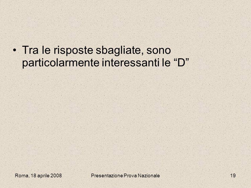 Roma, 18 aprile 2008Presentazione Prova Nazionale19 Tra le risposte sbagliate, sono particolarmente interessanti le D