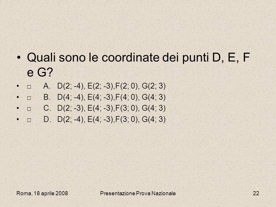 Roma, 18 aprile 2008Presentazione Prova Nazionale22 Quali sono le coordinate dei punti D, E, F e G? A.D(2; -4), E(2; -3),F(2; 0), G(2; 3) B.D(4; -4),