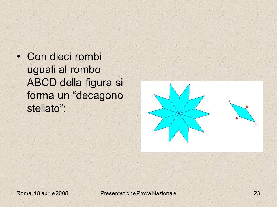 Roma, 18 aprile 2008Presentazione Prova Nazionale23 Con dieci rombi uguali al rombo ABCD della figura si forma un decagono stellato:
