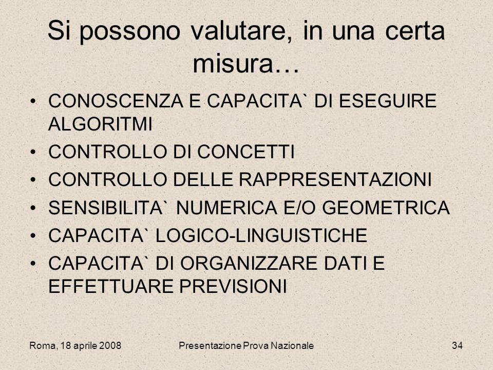 Roma, 18 aprile 2008Presentazione Prova Nazionale34 Si possono valutare, in una certa misura… CONOSCENZA E CAPACITA` DI ESEGUIRE ALGORITMI CONTROLLO D