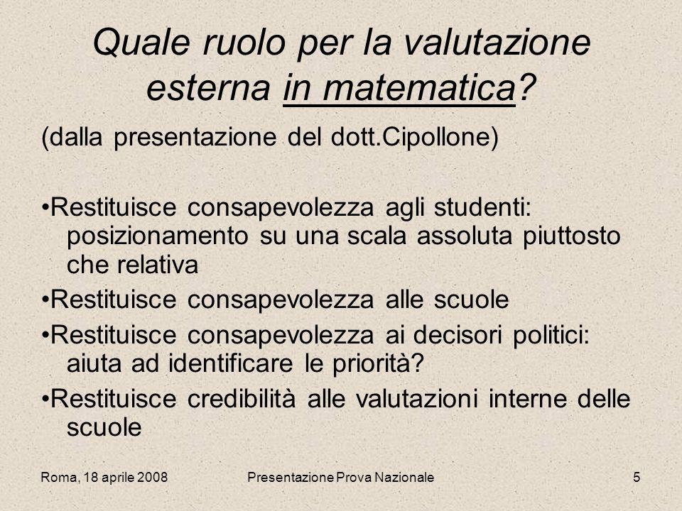 Roma, 18 aprile 2008Presentazione Prova Nazionale5 Quale ruolo per la valutazione esterna in matematica? (dalla presentazione del dott.Cipollone) Rest