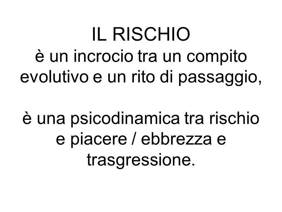 IL RISCHIO è un incrocio tra un compito evolutivo e un rito di passaggio, è una psicodinamica tra rischio e piacere / ebbrezza e trasgressione.