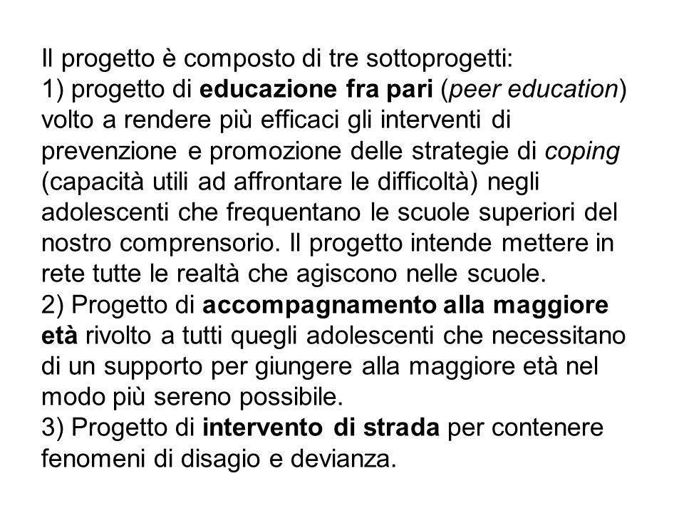Il progetto è composto di tre sottoprogetti: 1) progetto di educazione fra pari (peer education) volto a rendere più efficaci gli interventi di preven