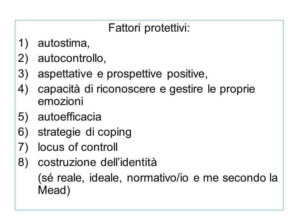 Fattori protettivi: 1)autostima, 2)autocontrollo, 3)aspettative e prospettive positive, 4)capacità di riconoscere e gestire le proprie emozioni 5)auto