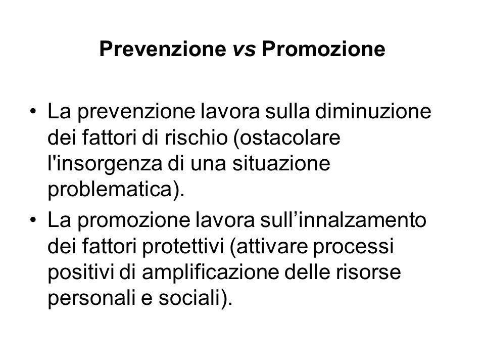 Prevenzione vs Promozione La prevenzione lavora sulla diminuzione dei fattori di rischio (ostacolare l'insorgenza di una situazione problematica). La