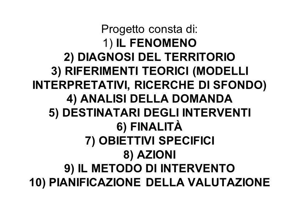 Progetto consta di: 1) IL FENOMENO 2) DIAGNOSI DEL TERRITORIO 3) RIFERIMENTI TEORICI (MODELLI INTERPRETATIVI, RICERCHE DI SFONDO) 4) ANALISI DELLA DOM