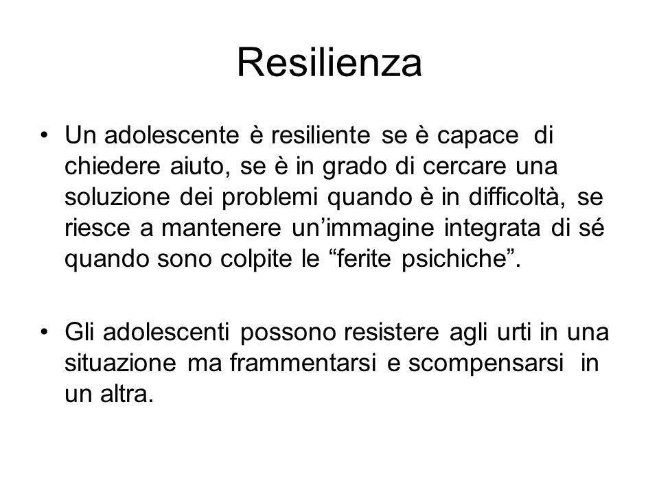 Resilienza Un adolescente è resiliente se è capace di chiedere aiuto, se è in grado di cercare una soluzione dei problemi quando è in difficoltà, se r