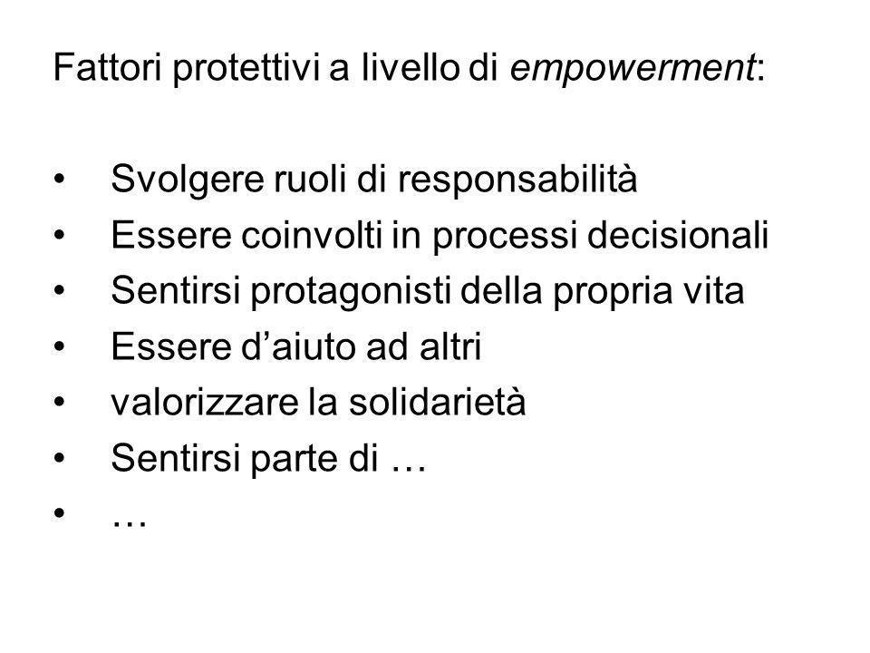 Fattori protettivi a livello di empowerment: Svolgere ruoli di responsabilità Essere coinvolti in processi decisionali Sentirsi protagonisti della pro