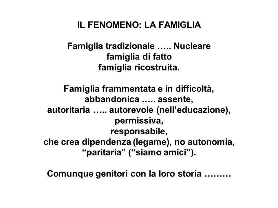 IL FENOMENO: LA FAMIGLIA Famiglia tradizionale ….. Nucleare famiglia di fatto famiglia ricostruita. Famiglia frammentata e in difficoltà, abbandonica