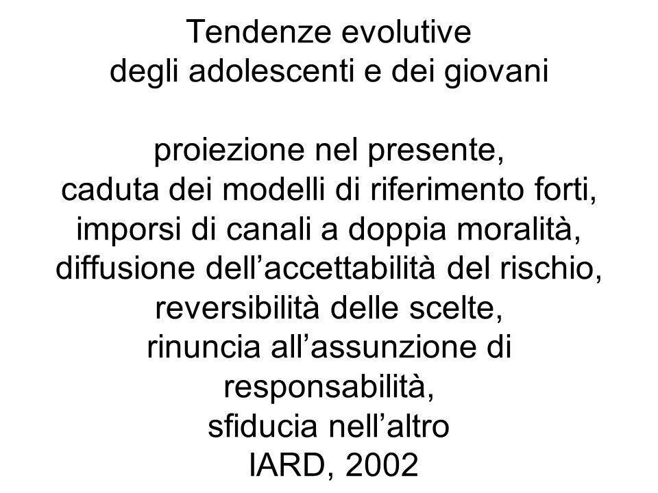 Tendenze evolutive degli adolescenti e dei giovani proiezione nel presente, caduta dei modelli di riferimento forti, imporsi di canali a doppia morali