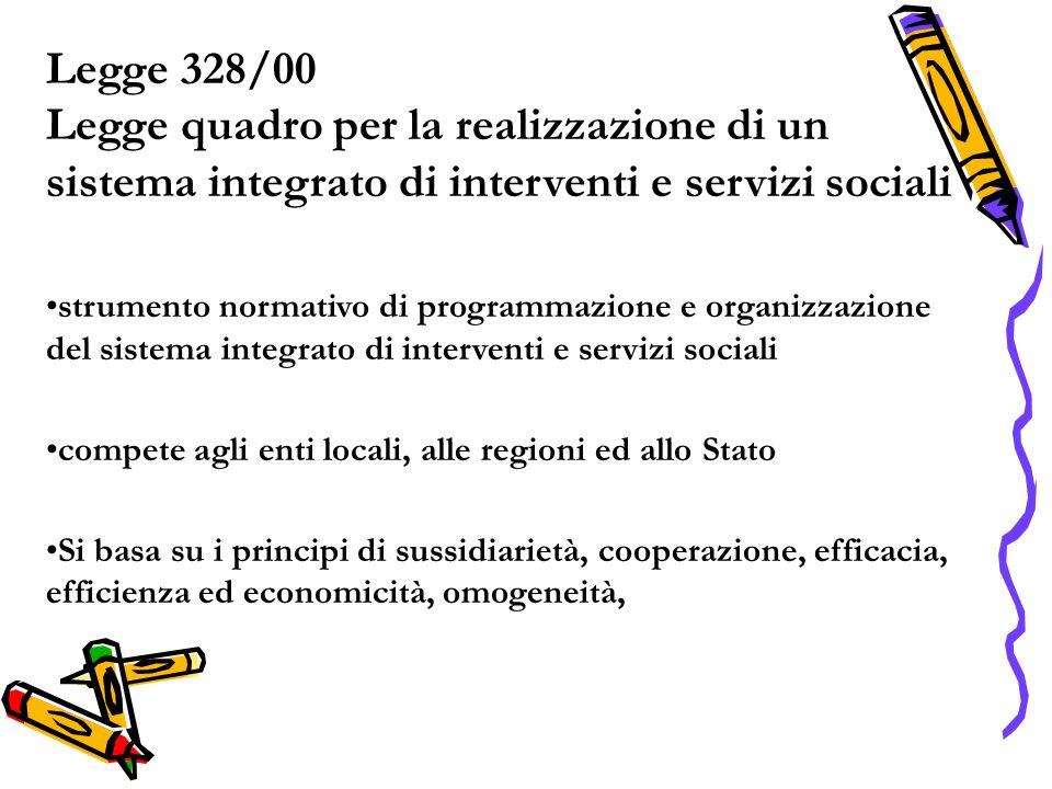 Legge 328/00 Legge quadro per la realizzazione di un sistema integrato di interventi e servizi sociali strumento normativo di programmazione e organizzazione del sistema integrato di interventi e servizi sociali compete agli enti locali, alle regioni ed allo Stato Si basa su i principi di sussidiarietà, cooperazione, efficacia, efficienza ed economicità, omogeneità,