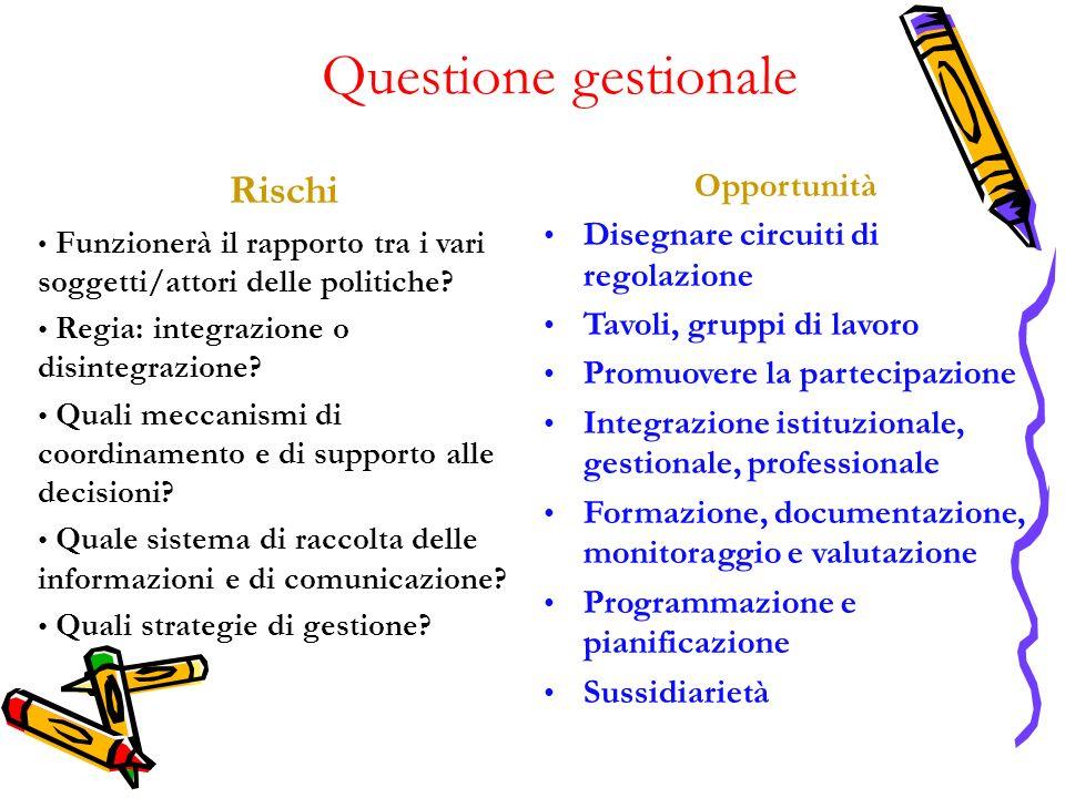 Questione gestionale Rischi Funzionerà il rapporto tra i vari soggetti/attori delle politiche.